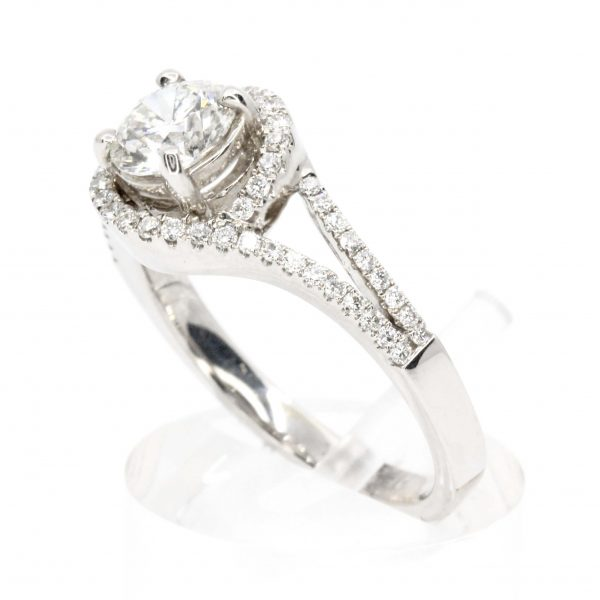 Round Brilliant Cut Diamond Ring with Halo of Diamonds set in 18ct White Gold