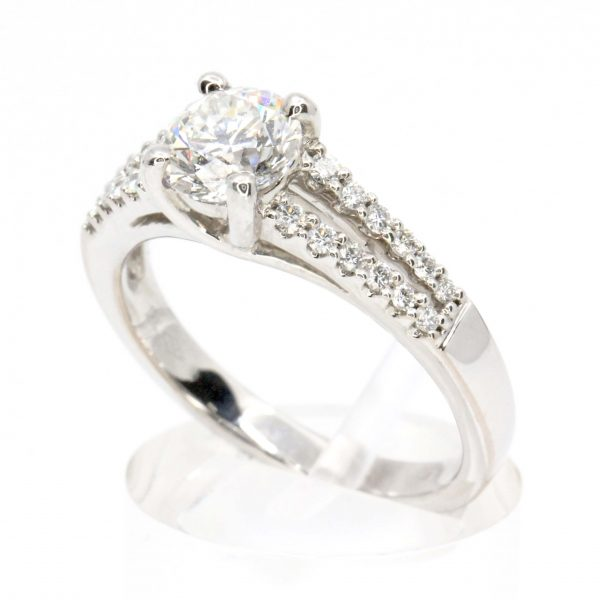 Round Brilliant Cut Diamond Ring with Diamond Accents set in 18ct White Gold