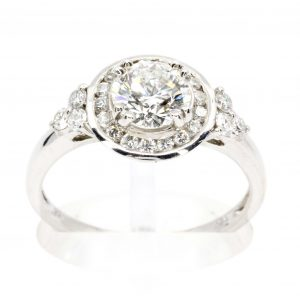 Diamond ring With Channel Halo White Gold