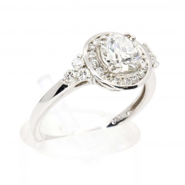 Diamond ring With Channel Halo set in 18ct White Gold