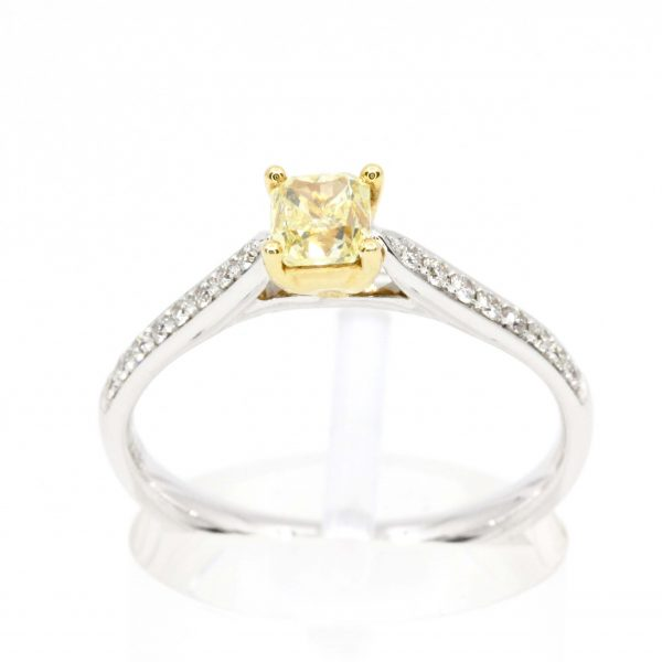 Princess Cut Yellow Diamond Ring with Bead Set Diamonds Accents set in 18ct White Gold
