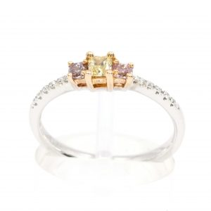 Princess Cut Diamonds Ring with Yellow & Pink Diamonds set in 18ct White Rose Gold