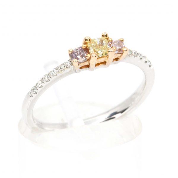 Princess Cut Diamonds Ring with Yellow & Pink Diamonds set in 18ct White Rose Gold
