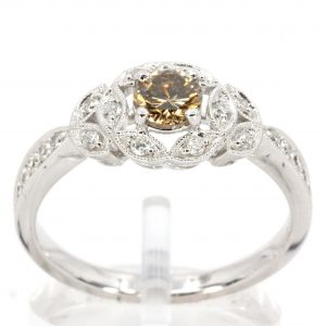 Round Brilliant Cut Champagne Diamond Ring with Halo of Diamonds set in 18ct White Gold