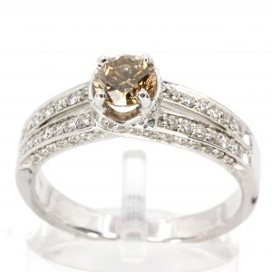 Round Brilliant Cut Champagne Diamond Ring with Bead Set Diamonds Accents set in 18ct White Gold