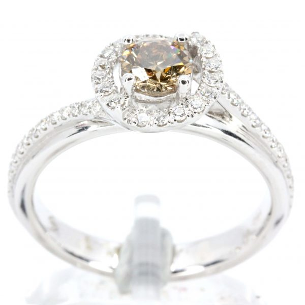Round Brilliant Cut Chocolate Diamond Ring with Halo of Diamonds set in 18ct White Gold