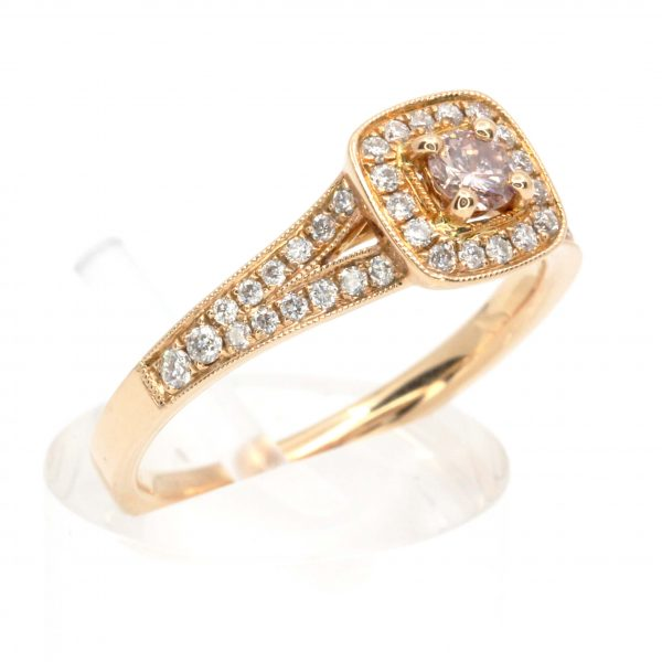Round Brilliant Cut Pink Champagne Diamond Ring with Diamonds set in 18ct Rose Gold