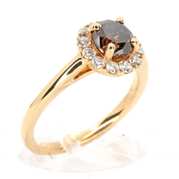 Round Brilliant Cut Chocolate Diamond Ring with Halo of Diamonds set in 18ct Rose Gold