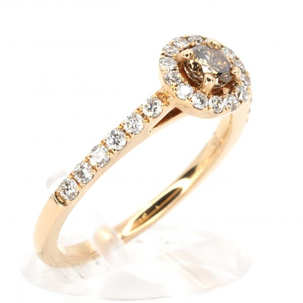 Round Brilliant Cut Champagne Diamond Ring with Halo of Diamonds set in 18ct Rose Gold
