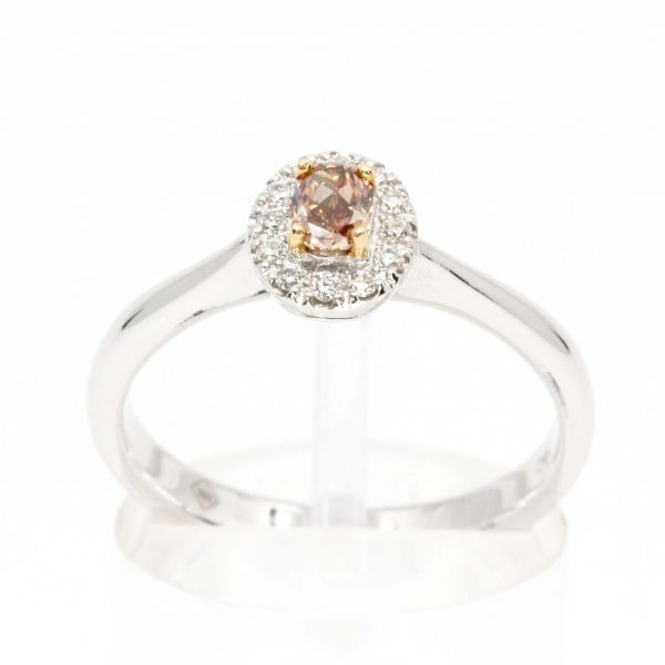 Oval Pink Rose Diamond Ring with Halo of Diamonds set in 18ct White Rose Gold