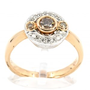 Champagne Diamond Ring with Diamonds set in 18ct Rose/White Gold