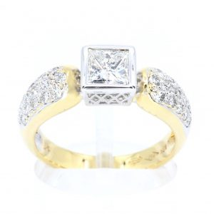 Princess Cut Bezel Set Diamond Ring with Diamonds Accents