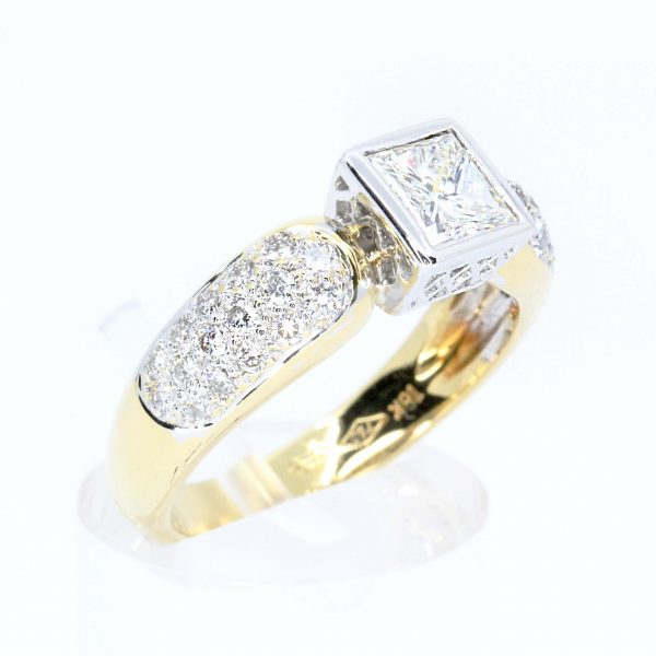 Princess Cut Bezel Set Diamond Ring with Diamonds Accents