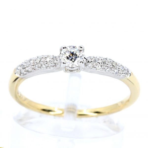 Round Brilliant Cut Diamond Ring with Bead Set Diamonds Accents set in 18ct Two Tone Gold