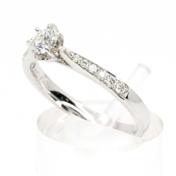 0.247ct Diamond Ring with Diamond Shoulder Accents set in 18ct White Gold