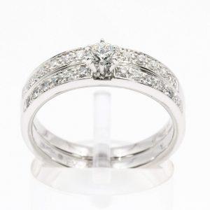 Diamond Ring with Matching Wedding Ring set in 18ct White Gold