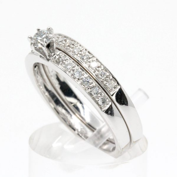 Diamond Ring with Matching Wedding Ring set in 18ct White Gold