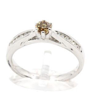 Round Brilliant Cut Chocolate Diamond Ring with Channel Set Diamonds Accents set in 18ct White Gold