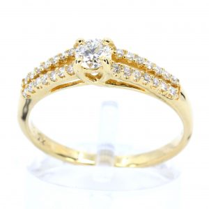 Round Brilliant Cut Diamond Ring with Diamond Accents set in 18ct Yellow Gold
