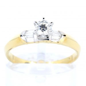 Diamond Ring with Tapered Accents set in 18ct Yellow Gold