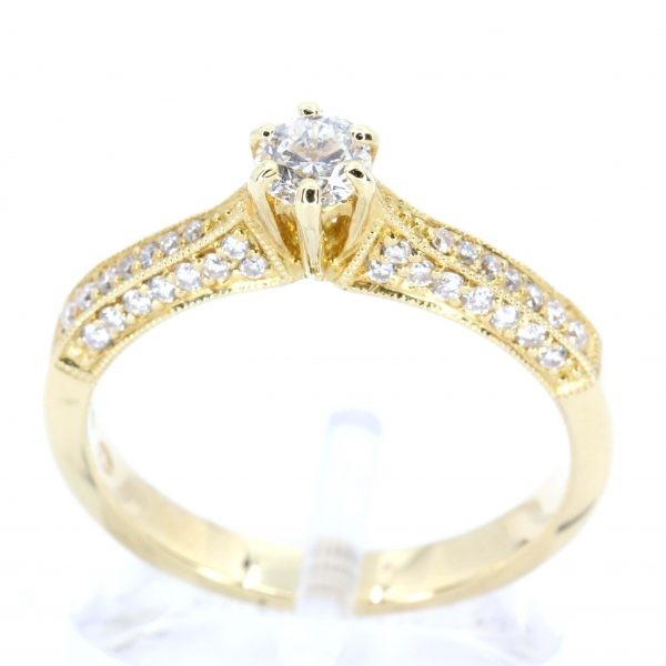Diamond Ring with Shoulder Accents set in 18ct Yellow Gold