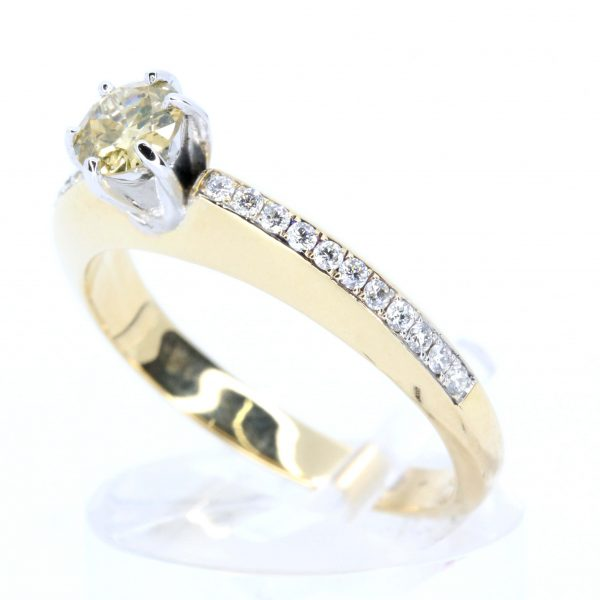 Yellow Diamond Ring with Diamond Accents Set in 18ct Yellow Gold