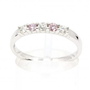 Round Brilliant Cut Pink & White Diamond Band set in 18ct White Gold