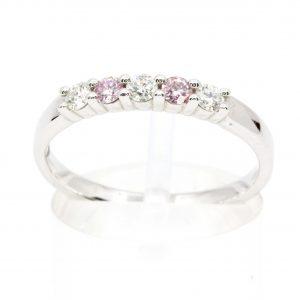 Round Brilliant Cut Pink & White Diamond Band set in 18ct White Gold