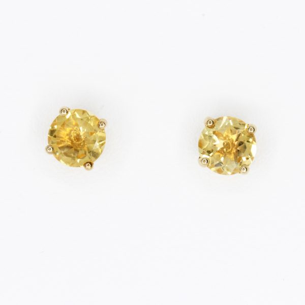 Round Cut Citrine Earrings set in 9ct Yellow Gold