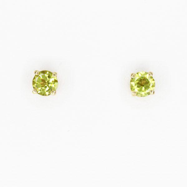 Round Cut Peridot Earrings set in 9ct Yellow Gold