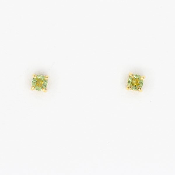 Round Cut Peridot Earrings set in 18ct Yellow Gold