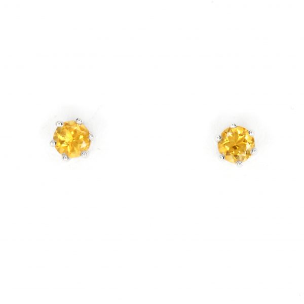 Round Cut Citrine Earrings set in 18ct White Gold