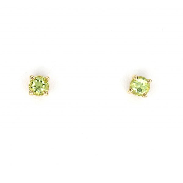 Round Cut Peridot Earrings set in 9ct Yellow Gold