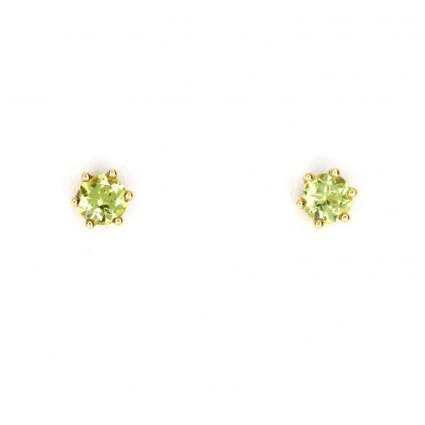 Round Cut Peridot Earrings set in 18ct Yellow Gold