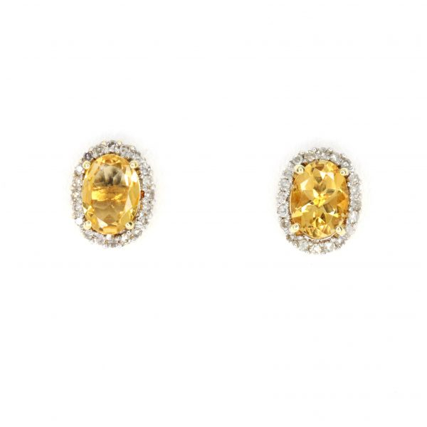 Oval Citrine Earrings with Halo of Diamond set in 18ct Yellow Gold