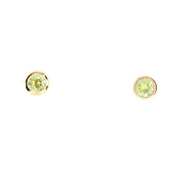 Round Cut Peridot Earrings set in 18ct Rose Gold