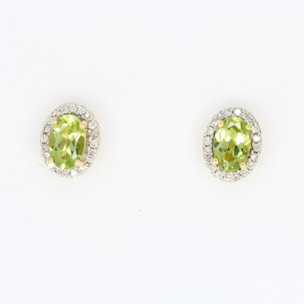 Oval Peridot Earrings with Halo of Diamond set in 18ct Yellow Gold