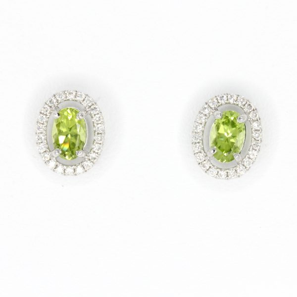 Oval Peridot Earrings with Halo of Diamond set in 18ct White Gold