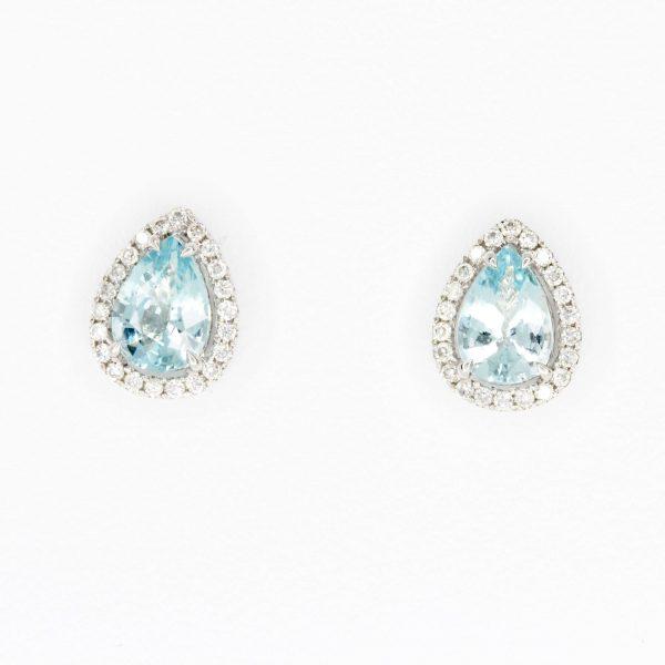 Pear Cut Aquamarine Earrings with Diamonds