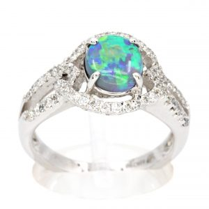 Claw Set Black Opal with Halo of Diamonds