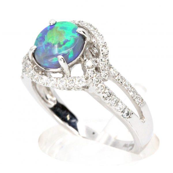Claw Set Black Opal with Halo of Diamonds