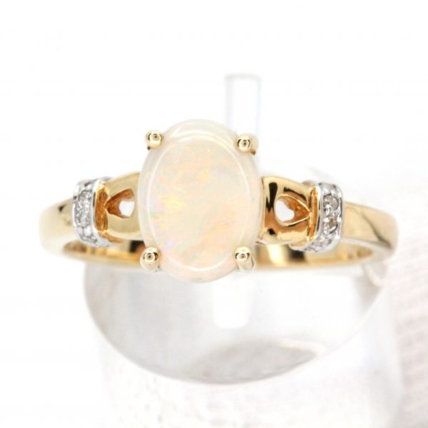 Coober Pedy White Opal Ring set in 14ct Two Tone