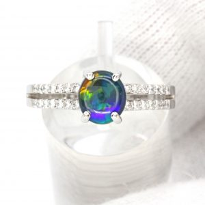 Black Opal Ring with Diamonds set in 18ct White Gold