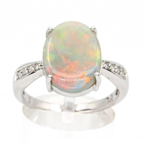 Coober Pedy White Opal & Diamond Ring set in 14ct White Gold