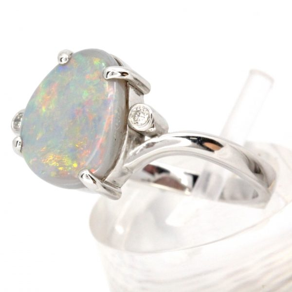 Grey Opal Ring with Diamonds set in 14ct White Gold