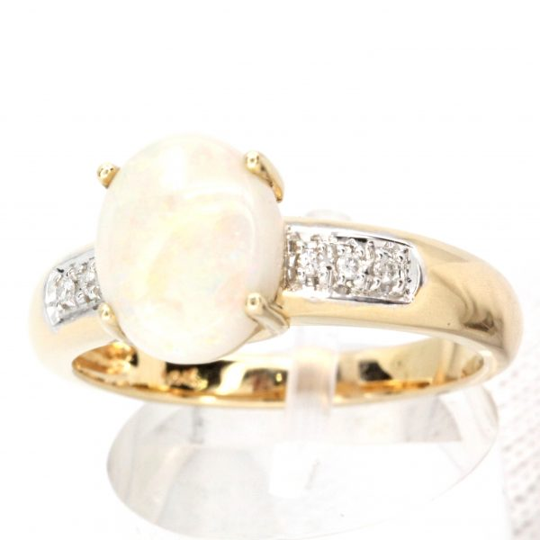 Coober Pedy White Opal & Diamond Ring set in 9ct Two Tone