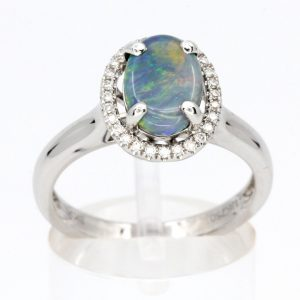 Oval Grey Opal Ring with Halo of Diamonds