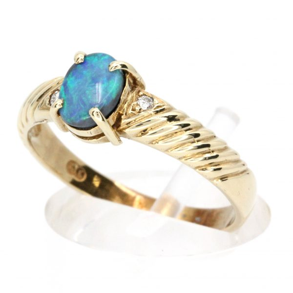 Black Opal & Diamond Ring Set Yellow Gold