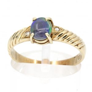Black Opal & Diamond Ring Set