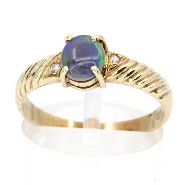 Black Opal & Diamond Ring Set
